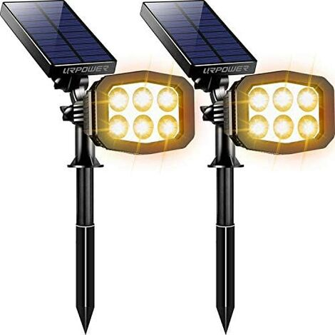 Outdoor solar light, upgrade 2 modes Solar light 2-in-1 waterproof solar spotlight automatic on/off solar wall light channel light courtyard garden swimming pool landscape lighting-cool white (2 pieces)a