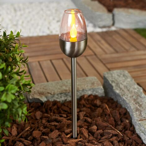 outdoor solar lights 'Lugin' (modern) in Silver made of Stainless Steel (3 light sources, A+) from Lindby | Decorative Solar Lights