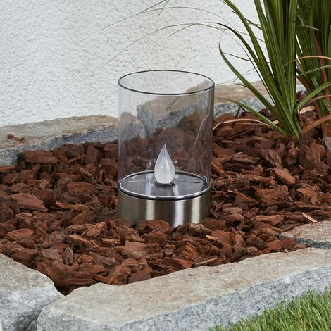 outdoor solar lights 'Milli' (modern) in Silver made of Stainless Steel (1 light source, A+) from Lindby | Decorative Solar Lights