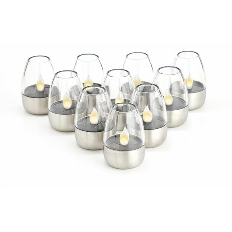 outdoor solar lights 'Pedas' (modern) in Silver made of Stainless Steel (10 light sources, A+) from Lindby | solar lamp, garden solar light