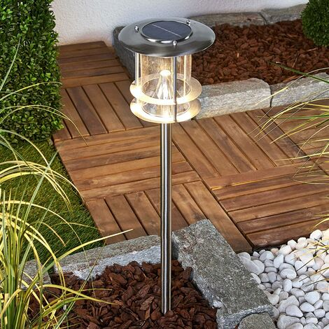 outdoor solar lights 'Sumaya' (modern) in Silver made of Stainless Steel (6 light sources, A+) from Lindby | solar lamp, garden solar light