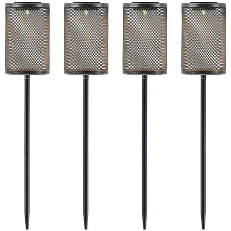 outdoor solar lights 'Wigand' in Black made of Metal (4 light sources, A+) from Lindby | Decorative Solar Lights