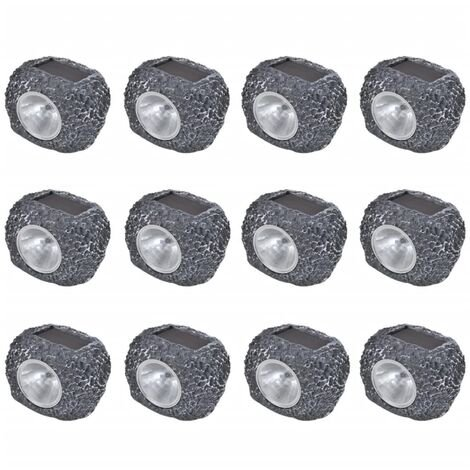 Outdoor Solar Powered LED Spotlight Stone Shape 12 pcs