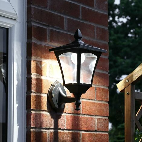 Outdoor Solar Security Wall Light, White LEDs, 34cm