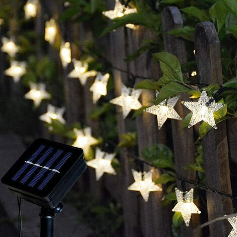 Outdoor Solar String Lights, 100 LED Solar String Lights Outdoor Star Waterproof 8 Modes Decoration Light for Garden, Patio, Yard, Home, Christmas, Wedding, Party (Star)