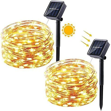 Outdoor Solar String Lights,100LEDs 32FT Fairy Lights with 8 Lighting Modes,Waterproof Copper Patio Lights for Party Garden Yard Wedding and Bedroom,Warm White (2 Pack)