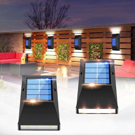 """main image of """"Outdoor solar wall light, 4-piece outdoor wall light, solar fence light, IP65 waterproof solar wall light, suitable for gardens, fences, courtyards, passages (cool white) SOEKAVIA"""""""