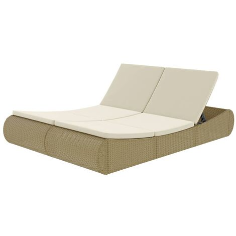 Outdoor-Sonneninsel Poly Rattan Beige