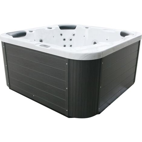 "main image of ""Outdoor Spa Hot Tub Silver Plastic Wood Hydro Massage Sanremo"""