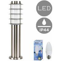 Outdoor Stainless Steel 450mm Bollard Lantern Light Post + 4w LED Candle Bulb - 3000K Warm White