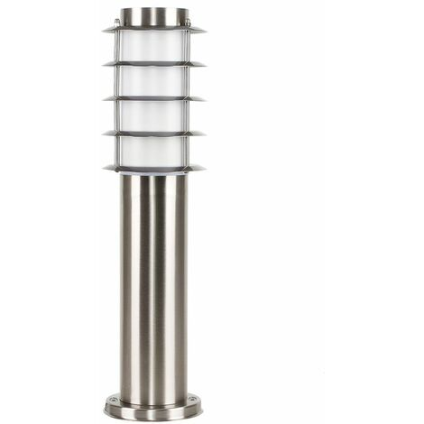 Outdoor Stainless Steel 450mm Bollard Lantern Light Post - Add LED Bulb - Silver