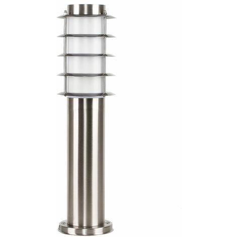 Outdoor Stainless Steel 450mm Bollard Lantern Light Post - No Bulb - Silver