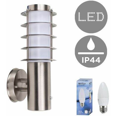 Outdoor Stainless Steel Photocell Wall Light Lantern + 4W LED Candle Bulb - Cool White - Silver