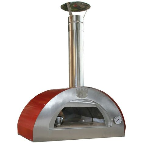 Outdoor Stainless Steel Wood Fired Pizza Oven with Red Dome