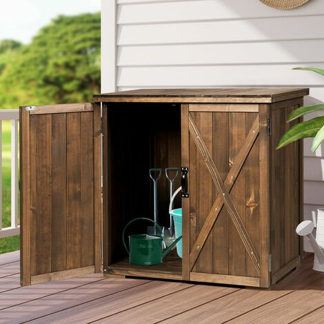 """main image of """"Outdoor Storage Shed Garden Patio Wood Utility Tool Cabinet W/Double Doors"""""""