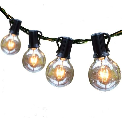 """main image of """"Outdoor String Lights 25ft Patio Lights with 27 G40 Bulbs (2 Spare) Connectable Globe String Lights for Party Tents Patio Gazebo Porch Deck Bistro Backyard Balcony Pergola Outside Decor"""""""