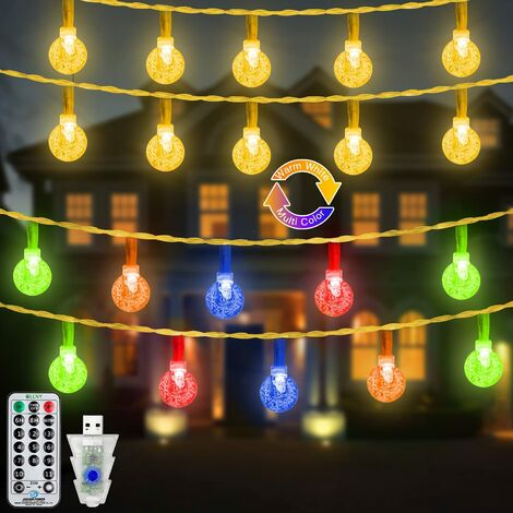 """main image of """"Outdoor String Lights, 49FT Christmas Fairy Twinkle Globe Lights with 100 LED Warm White Multi Colors, 11Mode&Remote, Indoor Waterproof USB Powered Lights for Bedroom Patio Garden Camping Decor"""""""