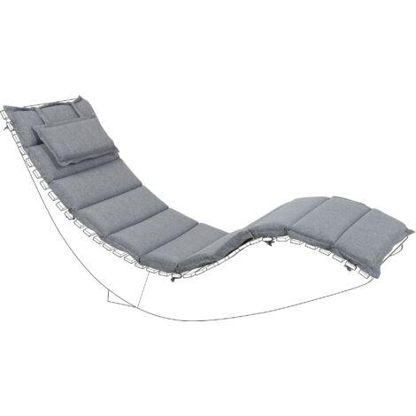 Outdoor Sun Lounger Cushion Polyester with Head Pillow Grey Brescia