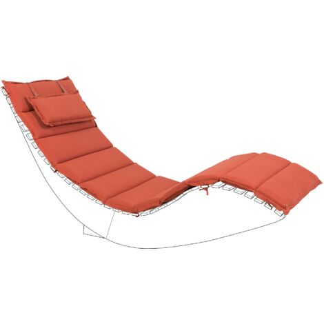 Outdoor Sun Lounger Cushion Polyester with Head Pillow Red Brescia