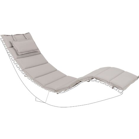 """main image of """"Outdoor Sun Lounger Cushion Polyester with Head Pillow Taupe Brescia"""""""