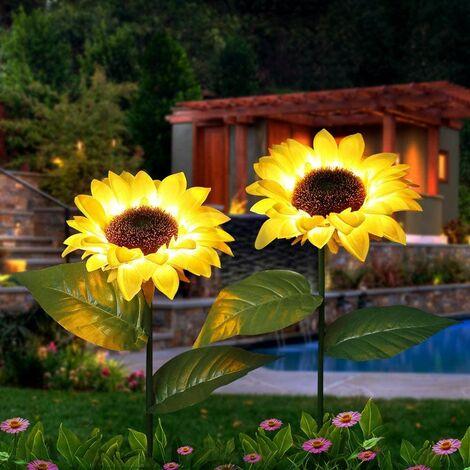 Outdoor Sunflower Solar Garden Decor Yard Stake, 26'' Decorative Lights for Garden Patio Porch Backyard (2 Pack)