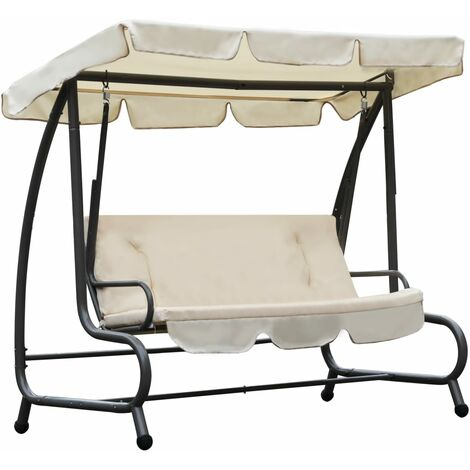 Outdoor Swing Chair with Canopy Sand White - White