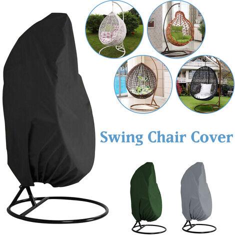 Outdoor Swing Hanging Chair Cove Garden Patio Dustproof Protection (Black, 190x115cm)
