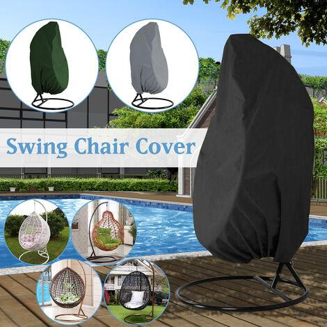 Outdoor Swing Hanging Chair Cove Garden Patio Dustproof Protection (Black, 230x200cm)