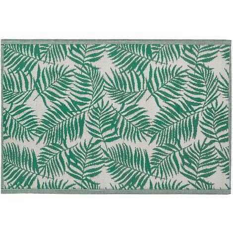 Outdoor Teppich Mintgrün/Weiß Polypropylen 120x180 cm Palmen-Muster Jacquardgewebt Rechteckig Kurzflor Gartenausstattung Gartenaccessoires Terrasse Balkon Wohnzimmer