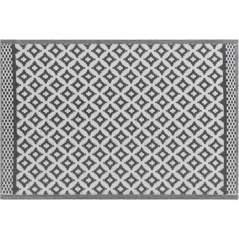 Outdoor Teppich schwarz 120 x 180 cm geometrisches Muster THANE