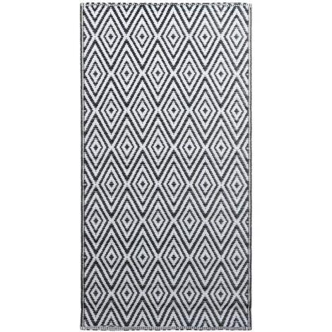 Outdoor-Teppich Weiß und Schwarz 120x180 cm PP