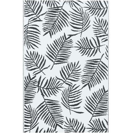 Outdoor-Teppich Weiß und Schwarz 80x150 cm PP