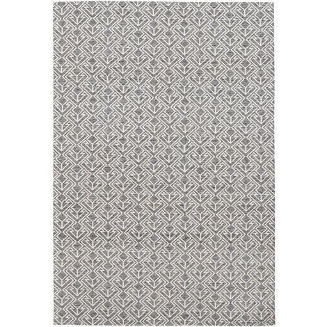 Outdoor Teppich Zick Zack Ethno Muster Terasse Balkon Grau Beige Taupe