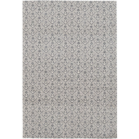 Outdoor Teppich Zick Zack Ethno Muster Terasse Balkon Teppiche Grau Beige Taupe