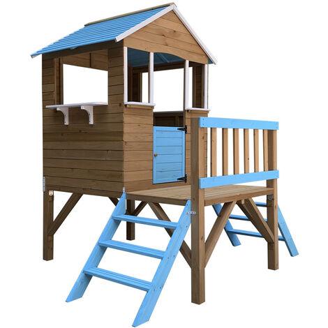 Outdoor Toys Maisonnette En Bois Blue Melody - 198 cm x 170 cm x 197 cm - 3,23 M² Avec Porche Et 2 Escaliers