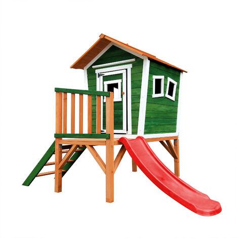 Outdoor Toys Maisonnette En Bois Niké - 175 cm x 131 cm x 205 cm - 2,21 M² Avec Porche, Escalier Et Toboggan