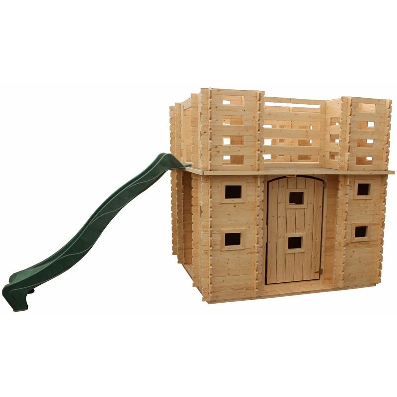 Maisonnette En Bois Pour Enfants Lucca 423 cm x 194 cm x 193 cm Avec Terrasse Et Toboggan - Outdoor Toys