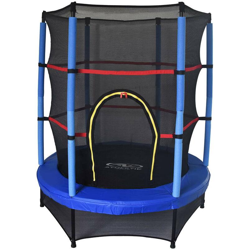 Outdoor Toys Trampoline Pour Enfants Happy Jump Blue Diamètre 140 Cm Avec Filet De Sécurité