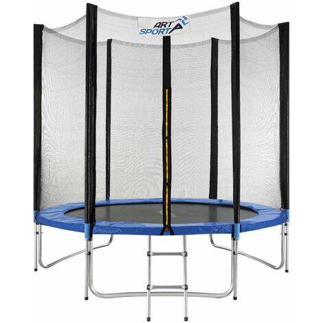 Outdoor Trampolin Jampino Ø 244 cm GS-geprüft – Kindertrampolin mit Sicherheitsnetz, Leiter & Randabdeckung – Gartentrampolin Kinder | ArtSport