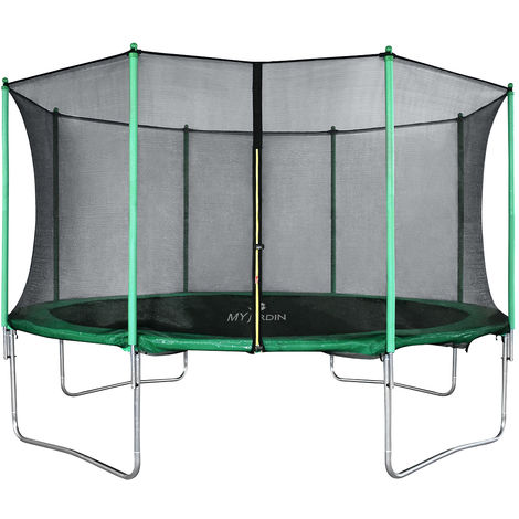 Outdoor Trampoline Set Green and black for Kids & Adults Garden Games With Safety Net Protective Cover