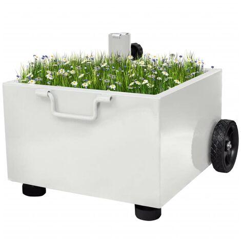 Outdoor Umbrella Stand Plant Pot White - White