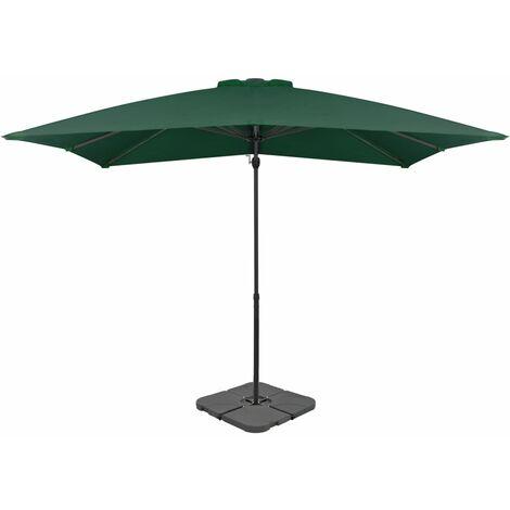 Outdoor Umbrella with Portable Base Green