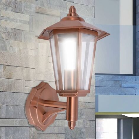 Outdoor Uplight Wall Lantern Stainless Steel Copper - Brown