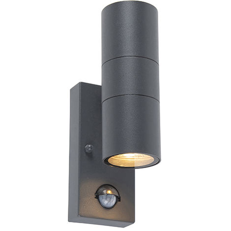 Outdoor wall lamp anthracite IP44 with motion sensor - Duo