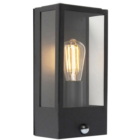 """main image of """"Exterior wall light black with motion detector IP44 - Rotterdam 1"""""""