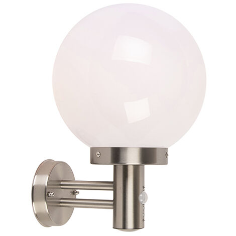 Outdoor wall lamp steel stainless steel IP44 with motion detector - Sfera