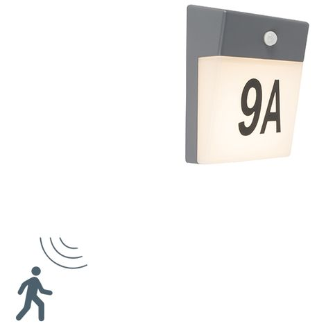 Outdoor Wall Lamp with Motion Sensor and House Number Stickers Grey incl. LED - Numbers