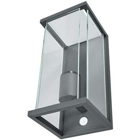 Outdoor Wall Light 'Annalea' with motion detector (modern) in Black made of Aluminium (1 light source, E27, A++) from Lucande | wall lamp for exterior/interior walls, house, terrace & balcony