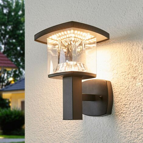 Outdoor Wall Light 'Askan' (modern) in Black made of Stainless Steel (1 light source, A+) from Lindby | wall lamp for exterior/interior walls, house, terrace & balcony