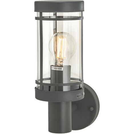 Outdoor Wall Light 'Djori' (modern) in Black made of Stainless Steel (1 light source, E27, A++) from Lindby | wall lamp for exterior/interior walls, house, terrace & balcony